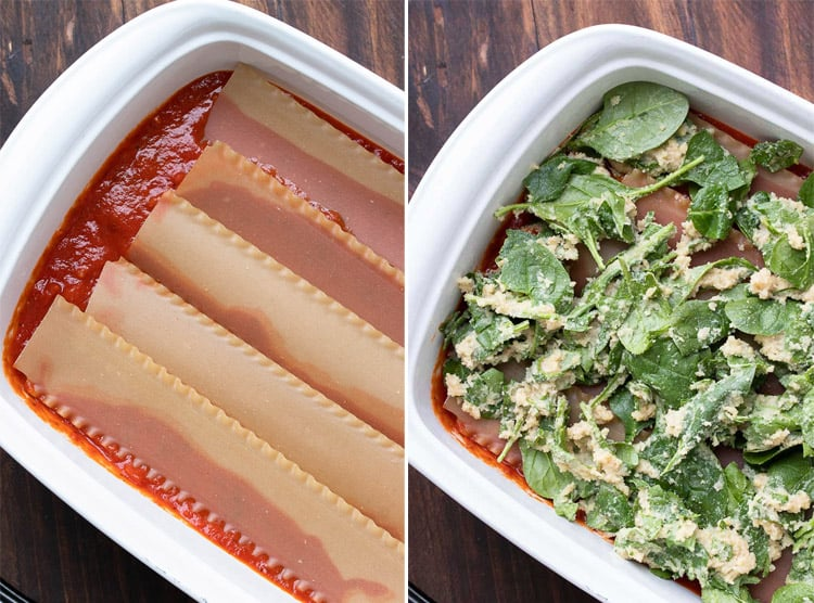 Collage of lasagna noodles and ricotta spinach layer in a white baking dish
