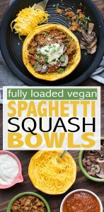 Getting those extra veggies in with these low carb spaghetti squash bowls loaded with all the things! Customizable and the perfect family meal. #lowcarbrecipes #vegandinner