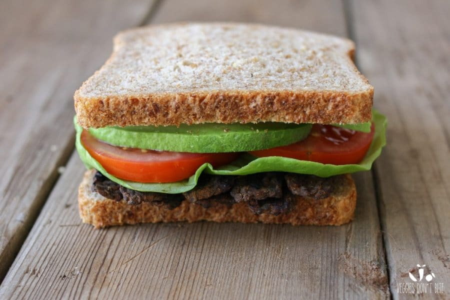 Vegan Bacon Lettuce Tomato Avocado Sandwich