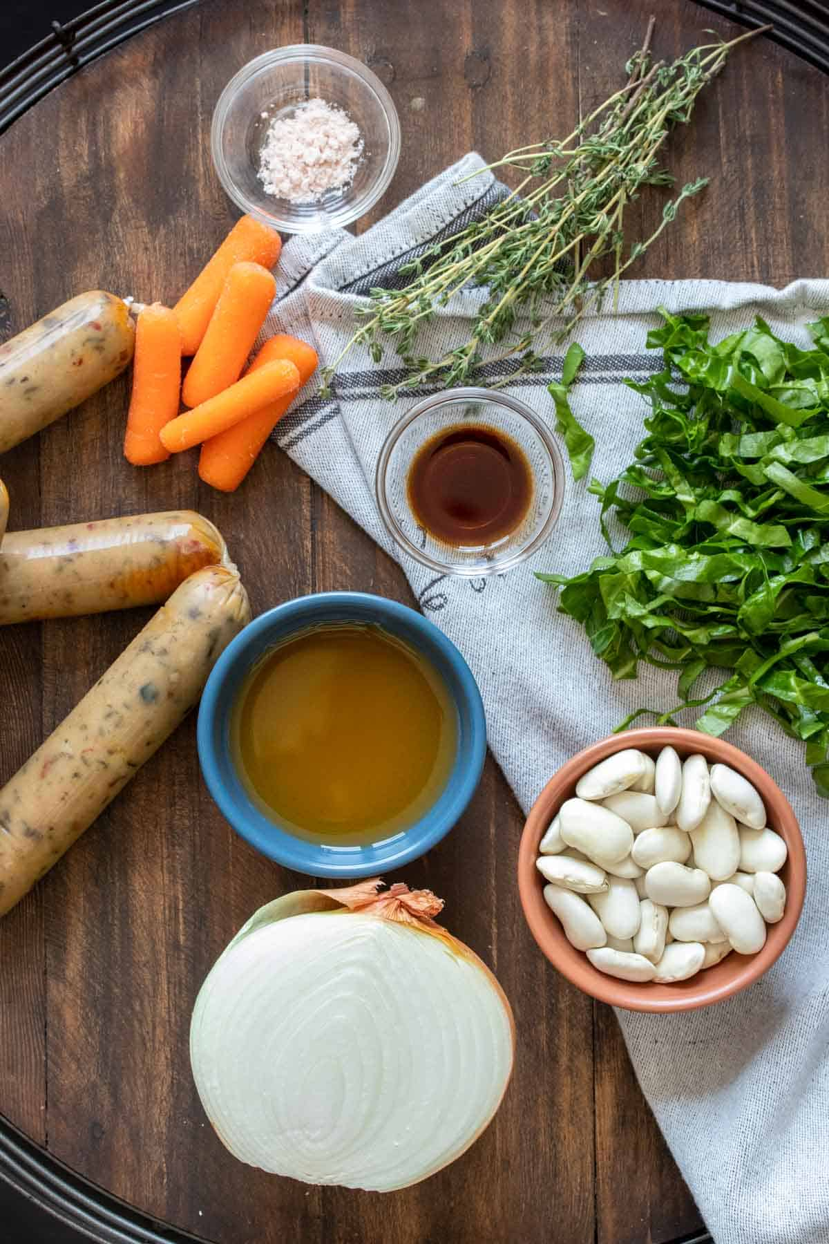 Front view of an instant pot on a wooden tray
