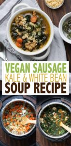 Smoky kale and white bean soup made in less than 30 minutes thanks to the instant pot. The flavors in this super easy meal will make your mouth water! #vegansoup #instantpotrecipes