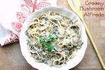Creamy mushroom alfredo on top of spaghetti squash and noodles