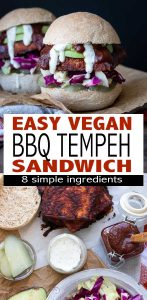 Barbecue tempeh sandwich. A delicious, easy and flavor packed tempeh sandwich made with homemade BBQ sauce and topped with veggies. #vegan #plantbased #tempeh #veganbbq
