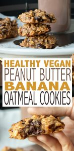 Nine ingredients and less than 30 minutes to incredible healthy peanut butter banana oatmeal cookies. Crispy edge and melt in your mouth middle, perfect for breakfast or a healthy snack! #vegandessertrecipes #healthysnacks