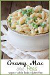 Creamy vegan pasta alfredo sauce and peas