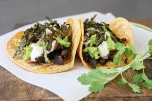 Portobello purple potato tacos
