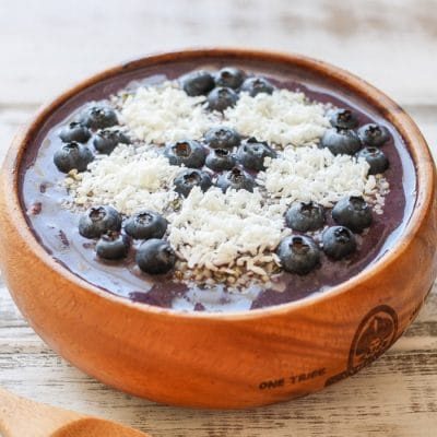 The World Cup Blueberry Peach Pecan Acai Smoothie Bowl