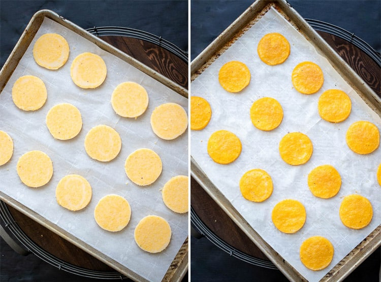 Collage of raw and baked rounds of polenta on a parchment lined cookie sheet