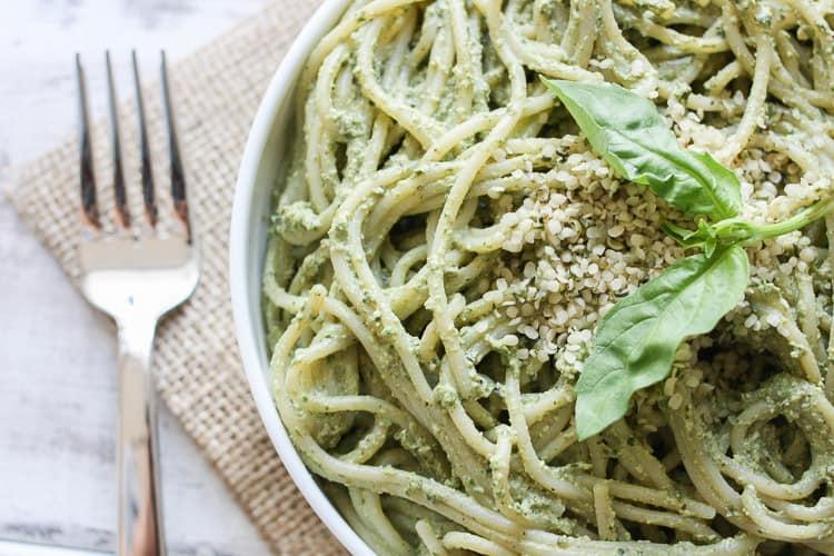 Lemon Hemp Seed Pesto tossed with spaghetti in a big bowl