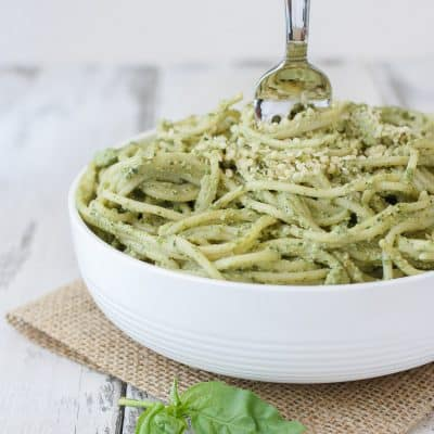 Lemon Hemp Seed Pesto and spaghetti in a bowl with a fork