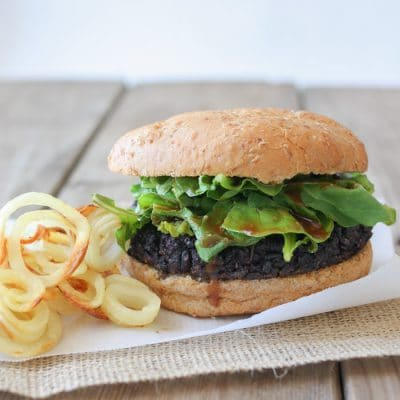 Portobello Black Rice Burgers with Miso Balsamic Arugula