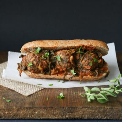 Vegan Beanball Sub with Sautéed Kale Marinara