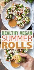 If you're looking for a fun tasty way to up those veggies, this healthy summer rolls recipe is the one! Customizable and with a droolworthy dipping sauce. #summerrecipes #healthyveganrecipes