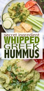 A light and airy whipped consistency with hints of lemon and Kalamata olives. This flavorful Greek hummus recipe is the perfect appetizer or snack! #hummusrecipe #greekrecipes