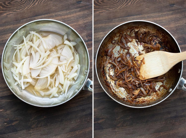 Collage of the before and after of onions caramelizing in a pan