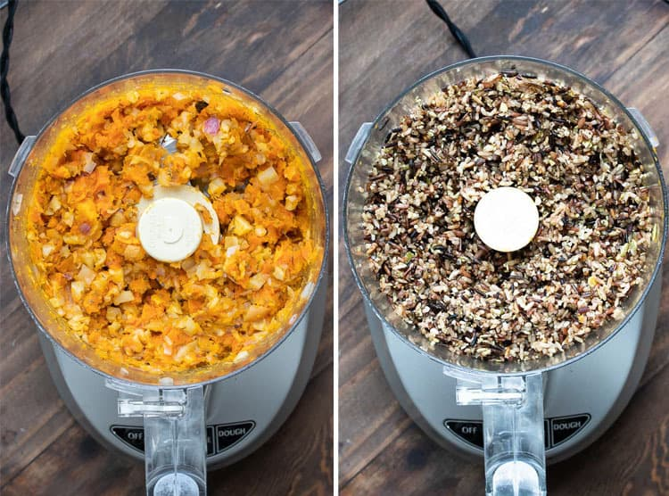 Collage of butternut squash mix and wild rice mix in food processors.