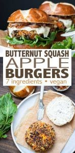 Butternut squash burgers made with 7 ingredients and as easy as roast, pulse, shape and cook! Switch up your regular burger with this flavor bomb of fall. #veganburger #fallrecipes #glutenfree #plantbased