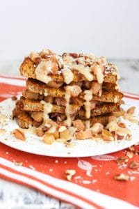 Cinnamon apple french toast with salted caramel icing
