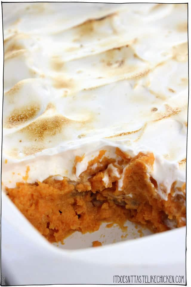 Baking dish with sweet potatoes and topped with marshmallow fluff