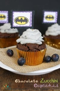 Batman themed dark chocolate zucchini cupcakes with all natural whipped frosting