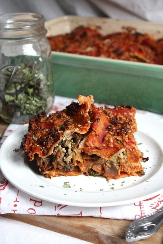 spinach and wild mushroom lasagna with basil almond cream