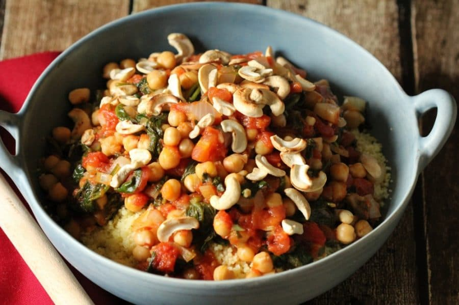chickpea and spinach couscous