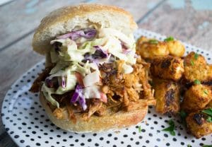 Vegan jackfruit pulled pork sandwich