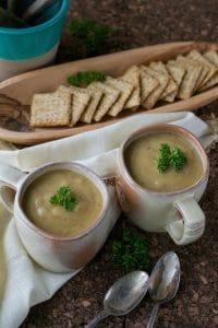 Vegan creamy roasted potato soup