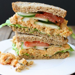 Fully loaded creamy mashed chickpea and veggie sandwich