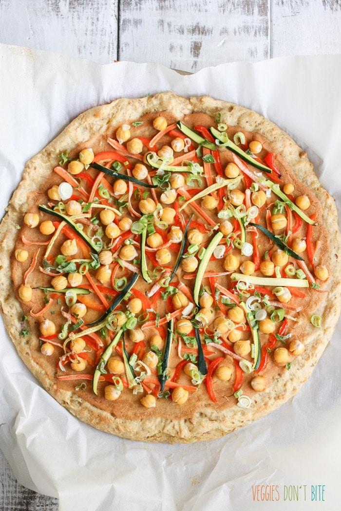 Thai chickpea and veggie pizza