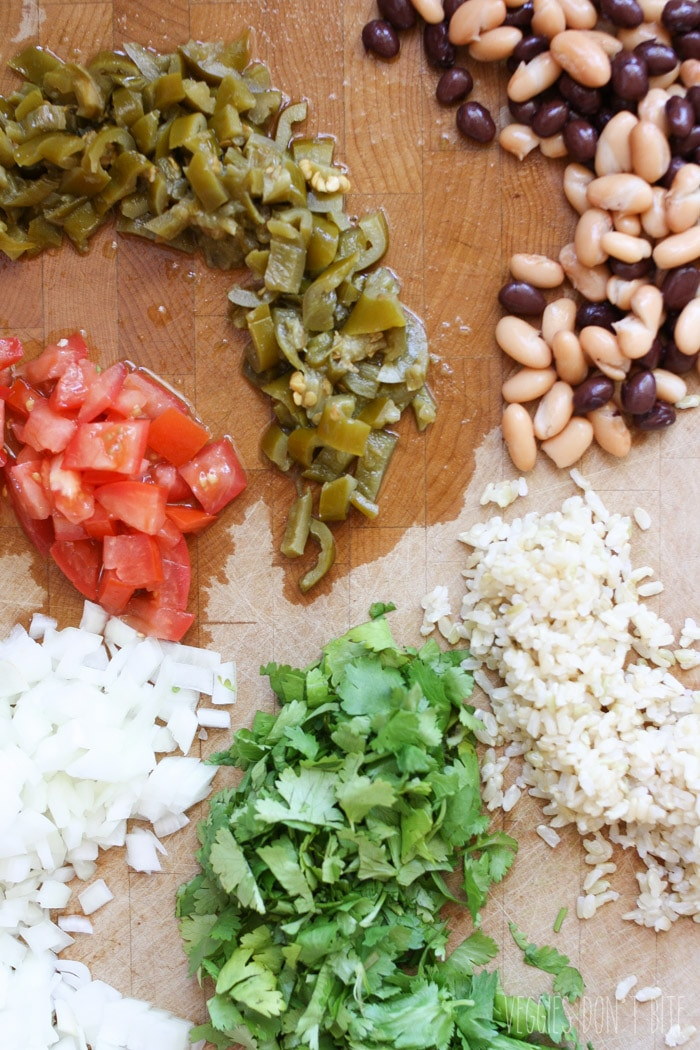 A photo of chopped ingredients to make patties for a Mexican nacho burger