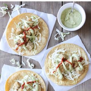 Crispy cauliflower and potato tacos with tangy dill crema