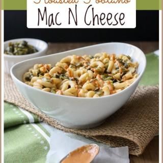 Roasted poblano mac and cheese bake with creamy sriracha sauce