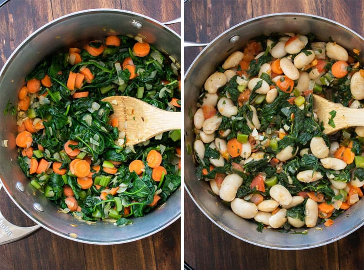 Collage of spinach and carrots cooking in a pot and added beans to the mixture