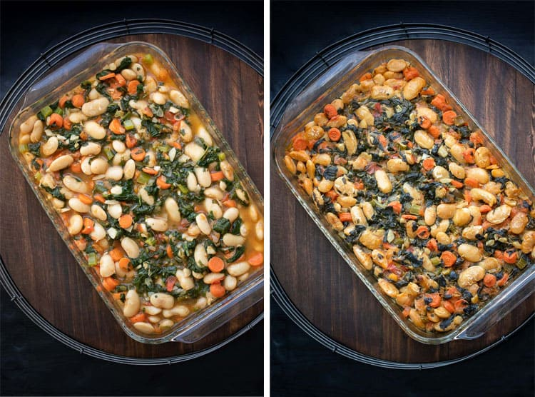 Collage of lima beans and veggies in a glass baking dish and then baked