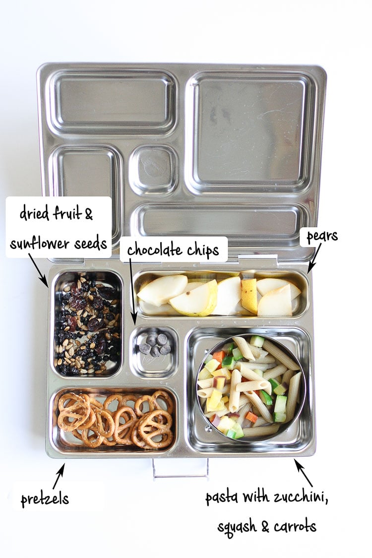 Fruit, seeds, pretzels, chocolate, and pasta with veggies in a metal lunchbox