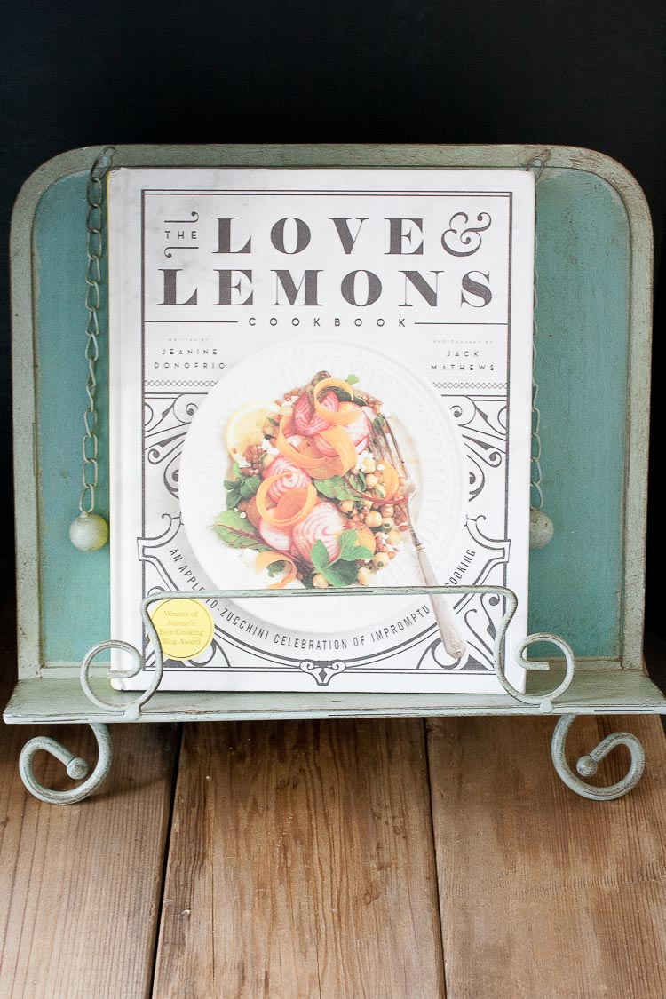 A side shot of a love and lemons cookbook