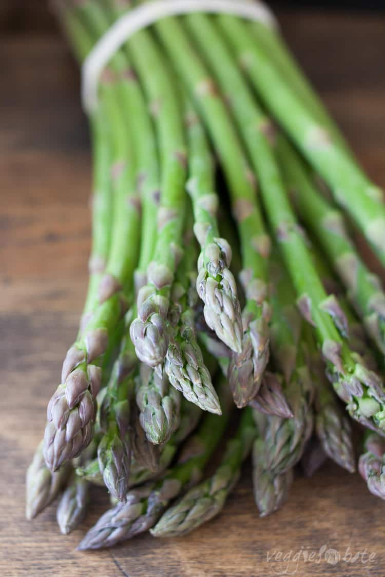 A close up of asparagus spears used to make asparagus pesto