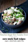 Vegan Roasted Veggie and Wild Rice Buddha Bowl with lemon herb sauce