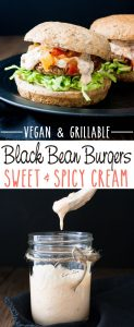 Easy Grillable Sweet and Spicy Vegan Black Bean Burgers with Mango Habanero Cream