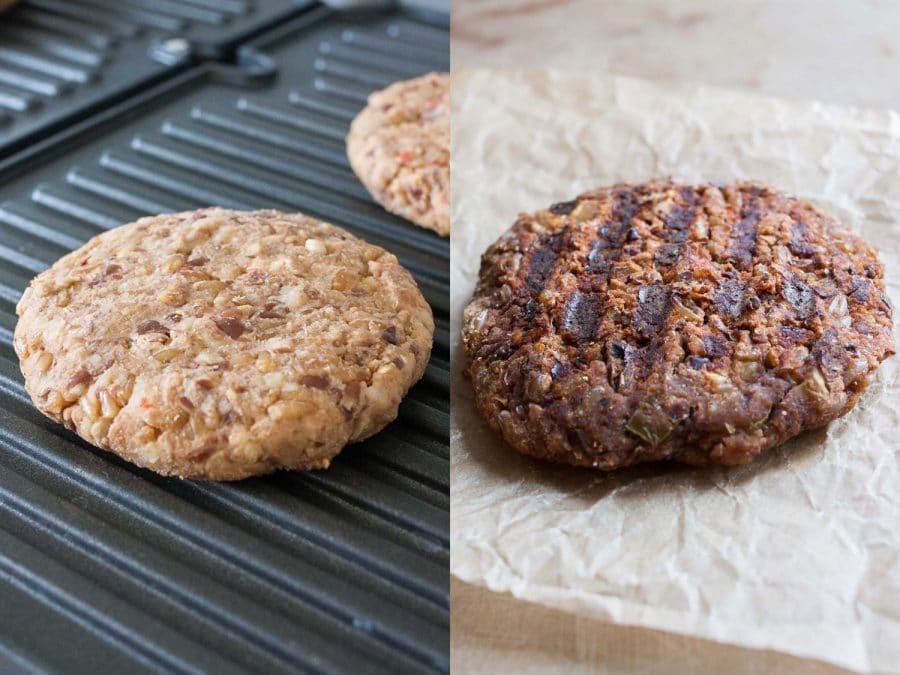 A collage image of an uncooked vegan black bean burger and a grilled black bean burger after being cooked