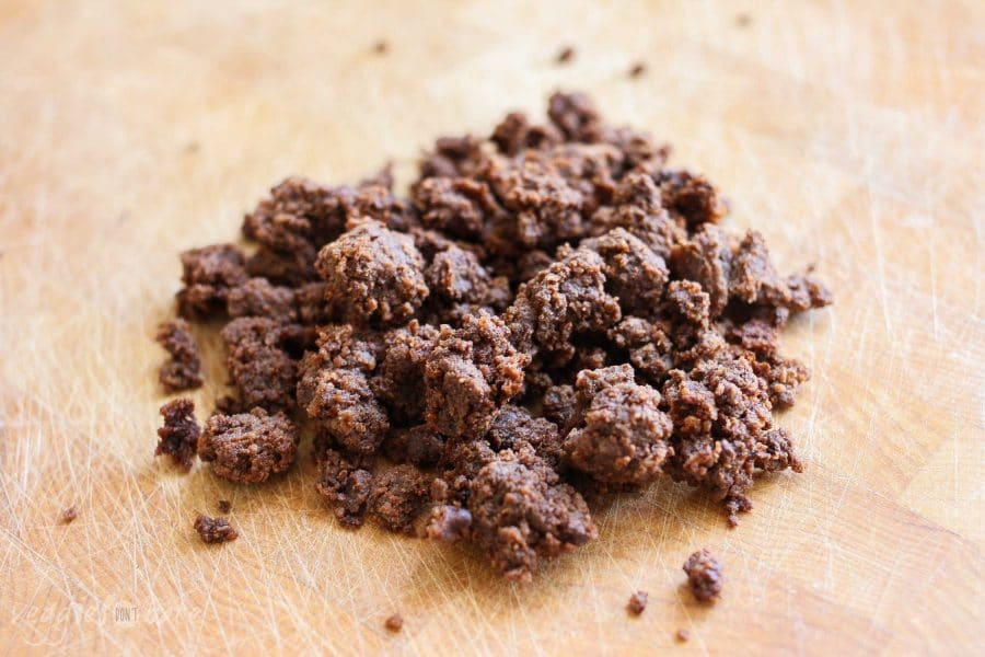 A close up of chocolate for making a vegan Chocolate Mousse Dessert