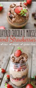 Raw Vegan Layered Strawberry Chocolate Mousse Dessert