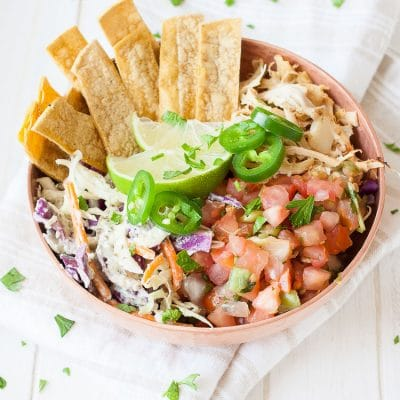 A close up of a vegan fish taco bowl