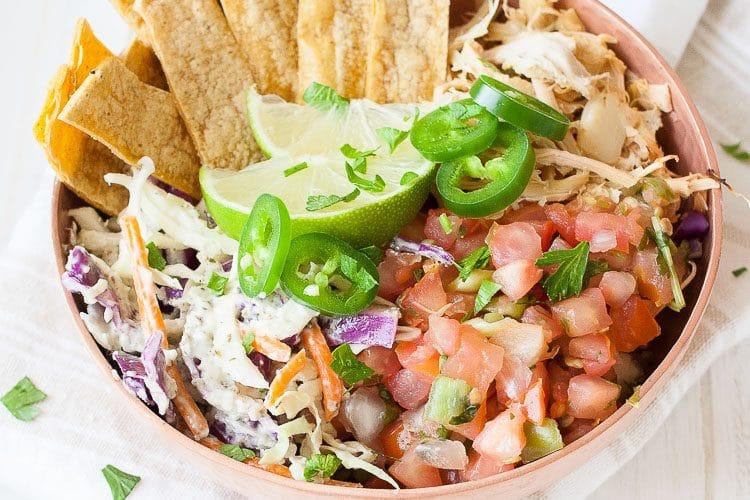 A close up of a vegan fish taco bowl