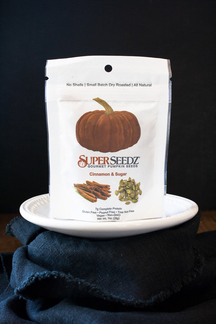 A product shot of a packet of superseedz cinnamon sugar pumpkin seeds