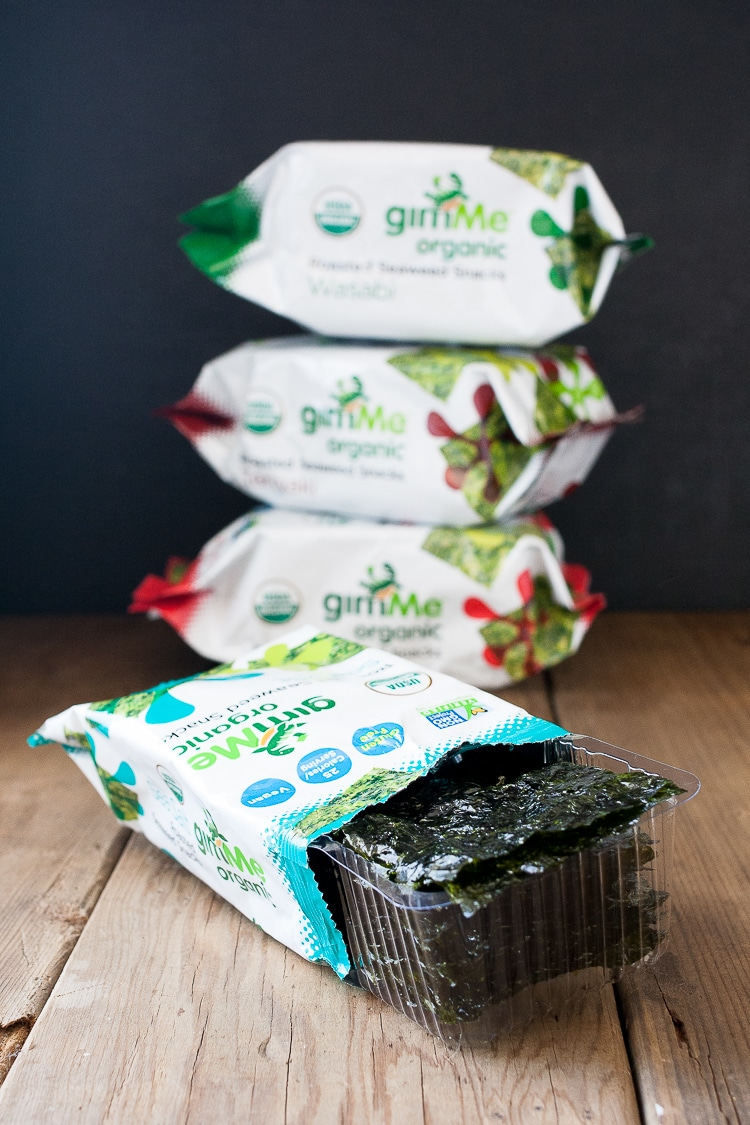 An open packet of seaweed wrappers to make Easy Sushi Rolls Seaweed Snack Roll Ups