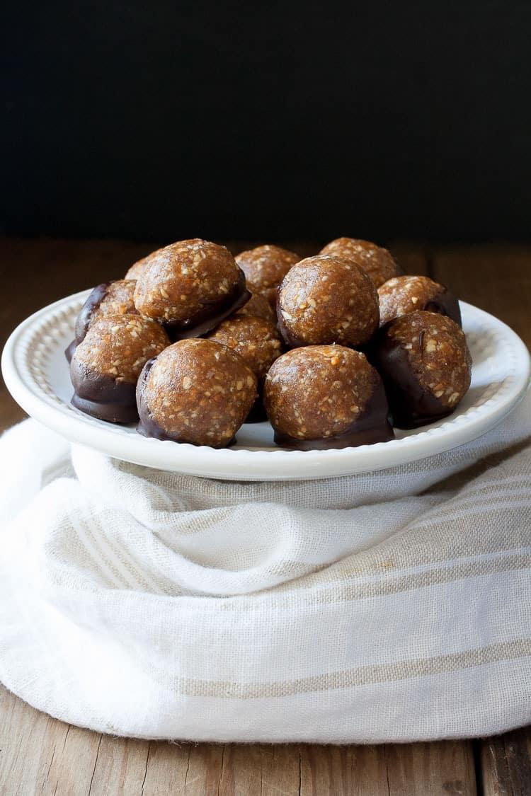 Raw Vegan Caramel Peanut Protein Truffles on a plate