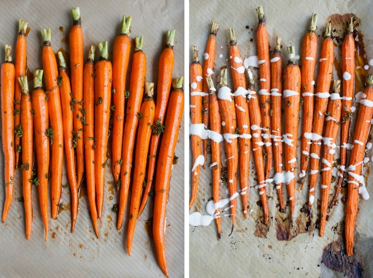 Collage of tray of fresh carrots and tray of roasted carrots drizzled with sauce