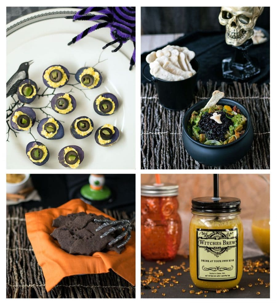 A collage image of Halloween treats you'd serve at a party